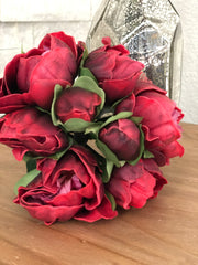Dark Red Peony Real Touch Flower Bouquet/Centerpiece 6 Head