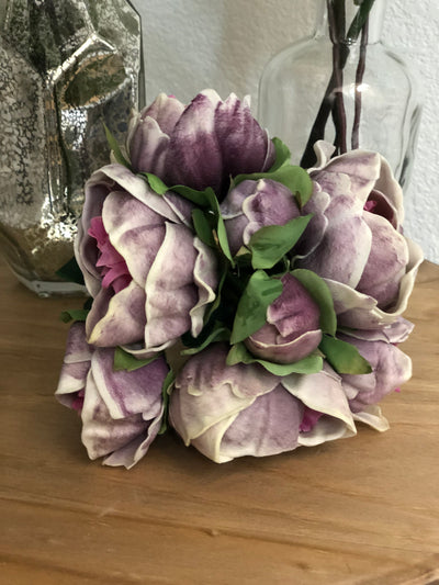 Lavendar Peony Real Touch Flower Bouquet/Centerpiece 6 Head