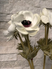 White Anemone PU Real Touch Flower
