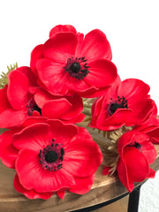Red Anemone PU Real Touch Flower