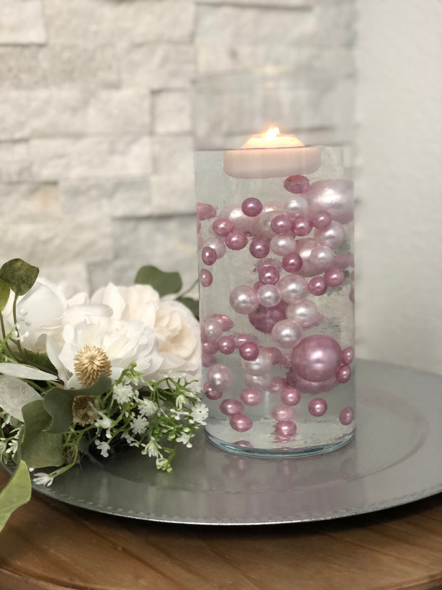 Dusty Rose Floating Pearls - Vase Filler Pearls Jumbo Pearls No Hole Pearls