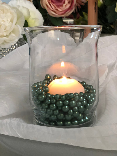 Sage Green Pearl Confetti Vase Fillers 500pc Small Pearls No Holes