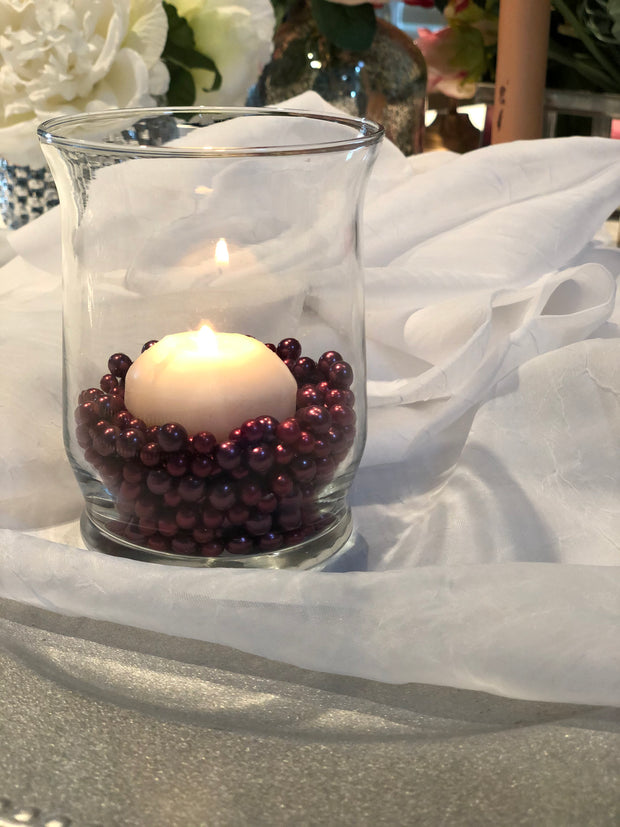 Burgundy Cranberry Pearl Confetti Vase Fillers 500pc Small Pearls No Holes