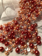 Orange Peach Pearls, Diamond Confetti Vase Fillers 500pc Small Pearls No Holes