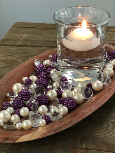 Vase Fillers Purple Berry Beads/Pearls/Diamonds Filler, Create beautiful table desert decor perfect for mason jars, wine glass fillers