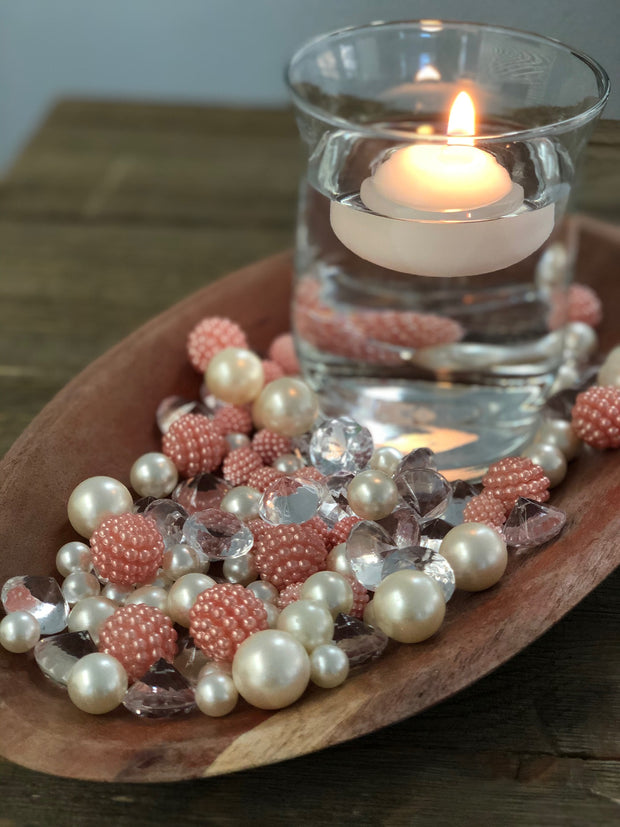 Vase Fillers Light Coral Berry Beads/Pearls/Diamonds Filler, Create beautiful table desert decor perfect for mason jars, wine glass fillers