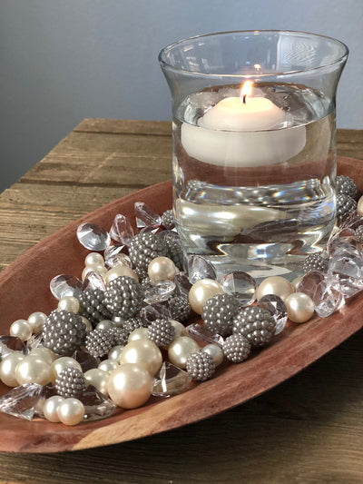 Vase Fillers Silver Berry Beads/Pearls/Diamonds Filler, Create beautiful table desert decor perfect for mason jars, wine glass fillers