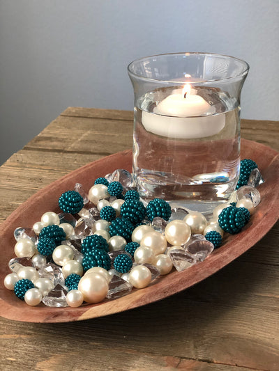 Vase Fillers Teal Berry Beads/Pearls/Diamonds Filler, Create beautiful table desert decor perfect for mason jars, wine glass fillers