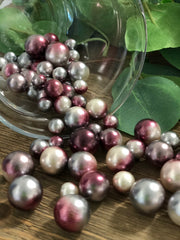 Floating Pearls Ombre/Watercolor Burgundy/Silver 60pc mix size pearls. DIY Floating Pearl Centerpiece