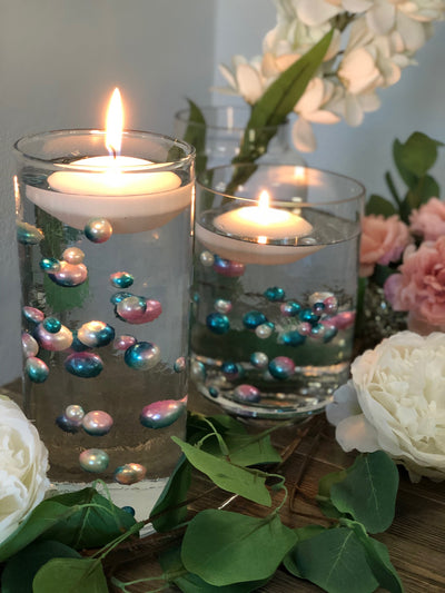 Floating Pearls Ombre/Watercolor Pink/Teal 60pc mix size pearls. DIY Floating Pearl Centerpiece