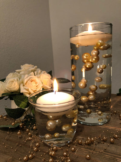 Ombre Floating Pearls Champagne/Gold 60pc mix size pearls. DIY Floating Pearl Centerpiece