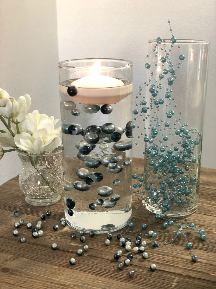 Floating Pearls Ombre/Watercolor Teal/Silver 60pc mix size pearls. DIY Floating Pearl Centerpiece
