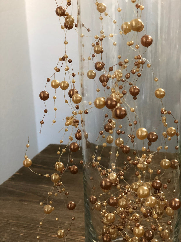 Champagne/Gold Pearl Beaded Garland 5ft DIY Floating Pearl Beaded Garland, Candle wreath decors