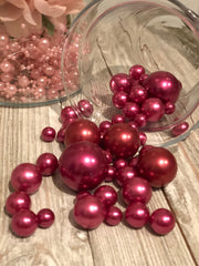 Very Berry Wedding Decor - DIY floating pearl centerpiece 80pc Mix size pearls no hole pearls for wedding, special events