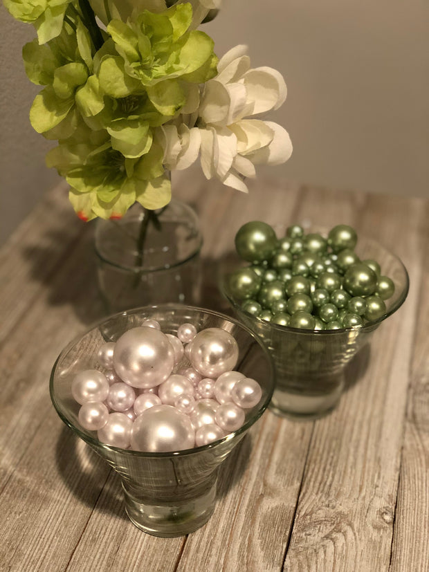 Sage Green/White Pearls DIY Floating Pearls/160 pc Mix Size Pearls, No Hole Pearls For Vase Fillers, Crafts, DIY Floating Pearls