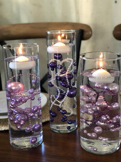 Wedding Color Palette Purple Lilac Lavender DIY Floating Pearl Centerpiece 150pc Mix size no hole pearls