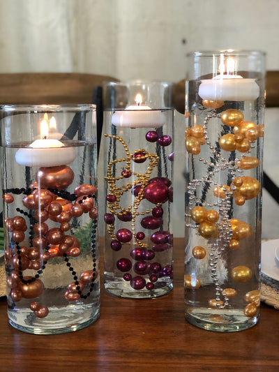 Wedding Color Palette Burgundy Gold Burnt Orange DIY Floating Pearl Centerpiece 150pc Mix size no hole pearls