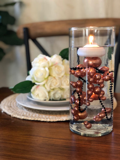 Decor Ideas For Wedding, Bridal Shower, Baby Party, Birthday Party. Burnt Orange Floating Pearl Decoration/Centerpiece