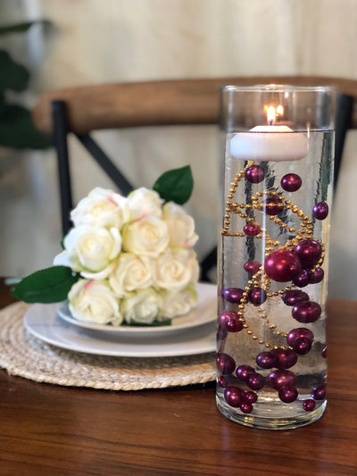 Decor Ideas For Wedding, Bridal Shower, Baby Party, Birthday Party. Burgundy Floating Pearl Decoration/Centerpiece