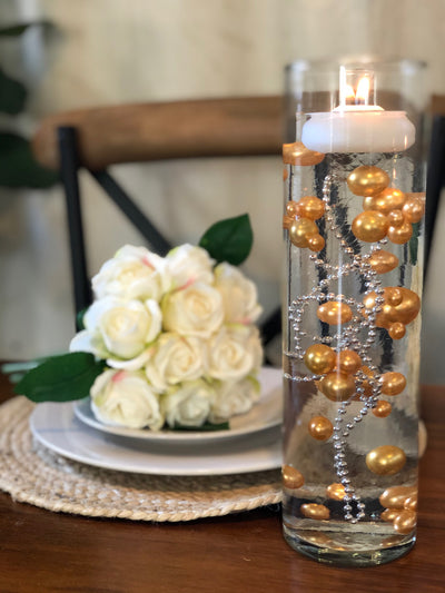 Decor Ideas For Wedding, Bridal Shower, Baby Party, Birthday Party. Gold Floating Pearl Decoration/Centerpiece