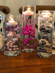 Wedding Color Palette Gray, Light Pink, Fushia DIY Floating Pearl Centerpiece 150pc Mix size no hole pearls