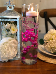 Decor Ideas For Wedding, Bridal Shower, Baby Party, Birthday Party. Magenta/Hot Pink Floating Pearl Decoration/Centerpiece