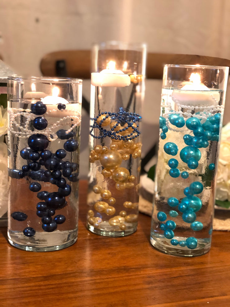 Decor Ideas For Wedding, Bridal Shower, Baby Party, Birthday Party. Navy Blue Floating Pearl Decoration/Centerpiece