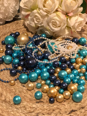 Wedding Color Palette Navy, Teal, Champagne DIY Floating Pearl Centerpiece 150pc Mix size no hole pearls