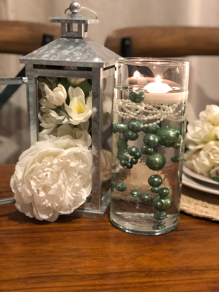 Sage Green DIY Floating Pearl Decoration 80pcs No Hole Pearls