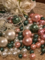 Wedding Color Palette Dusty Coral, Green Sage, Ivory DIY Floating Pearl Centerpiece 150pc Mix size no hole pearls
