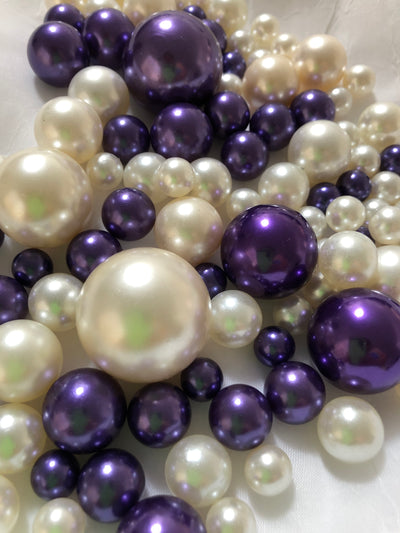 Purple Ivory Pearls, Vase Fillers For Floating Pearl Centerpiece, Table Scatters