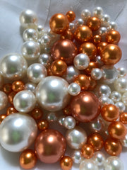 Orange Ivory Pearls, Vase Fillers For Floating Pearl Centerpiece, Table Scatters