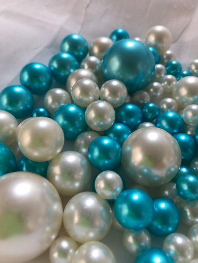 Teal Blue Ivory Pearls, Vase Fillers For Floating Pearl Centerpiece, Table Scatters