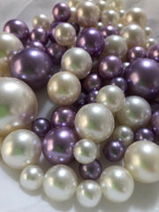 Lavender Ivory Pearls, Vase Fillers For Floating Pearl Centerpiece, Table Scatters
