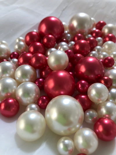 Red Ivory Pearls, Vase Fillers For Floating Pearl Centerpiece, Table Scatters