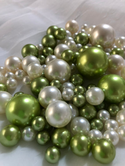 Lime Mint Ivory Pearls, Vase Fillers For Floating Pearl Centerpiece, Table Scatters