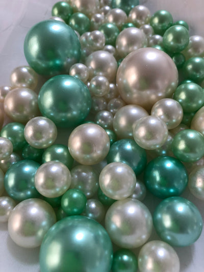 Seafoam Green Ivory Pearls, Vase Fillers For Floating Pearl Centerpiece, Table Scatters