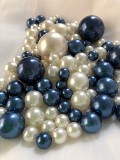 Navy Blue Ivory Pearls, Vase Fillers For Floating Pearl Centerpiece, Table Scatters