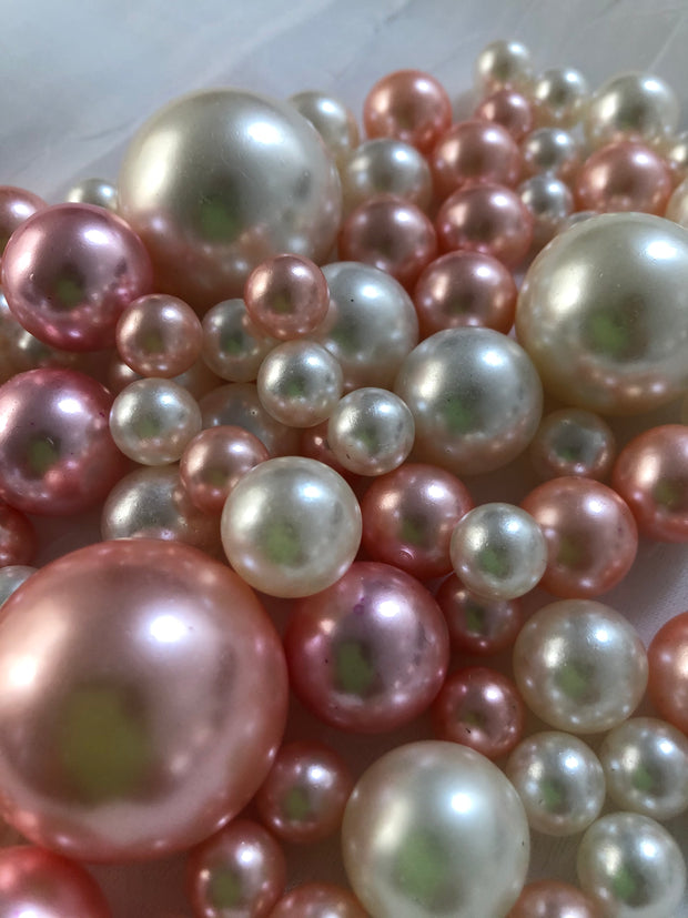 Rose Gold Ivory Pearls, Vase Fillers For Floating Pearl Centerpiece, Table Scatters