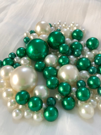 Emerald Green Ivory Pearls, Vase Fillers For Floating Pearl Centerpiece Decor