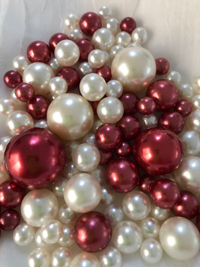 Burgundy Ivory Pearls, Vase Fillers For Floating Pearl Centerpiece Decor