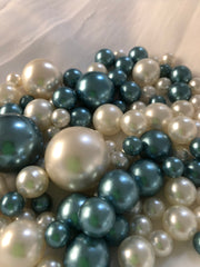 Dusty Blue Ivory Pearls, Vase Fillers For Floating Pearl Centerpiece Decor