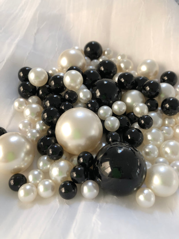 Black Ivory Pearls, Vase Fillers For Floating Pearl Centerpiece Decor