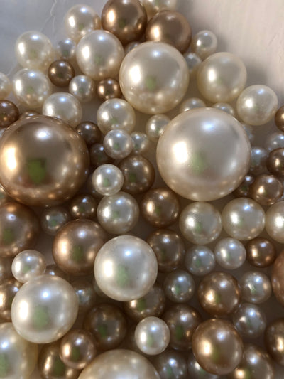 Champagne Ivory Pearls, Vase Fillers For Floating Pearl Centerpiece Decor