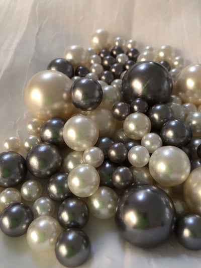 Gray Ivory Pearls, Vase Fillers For Floating Pearl Centerpiece Decor