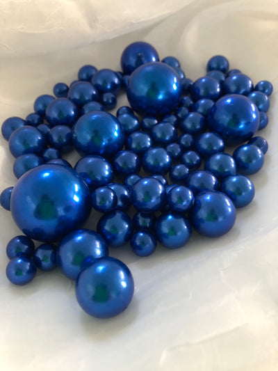 Royal Blue Vase Filler Pearls, Floating Pearl Centerpiece, Table Scatters