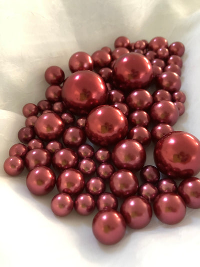Burgundy vase filler pearls, floating pearl centerpiece, table scatters