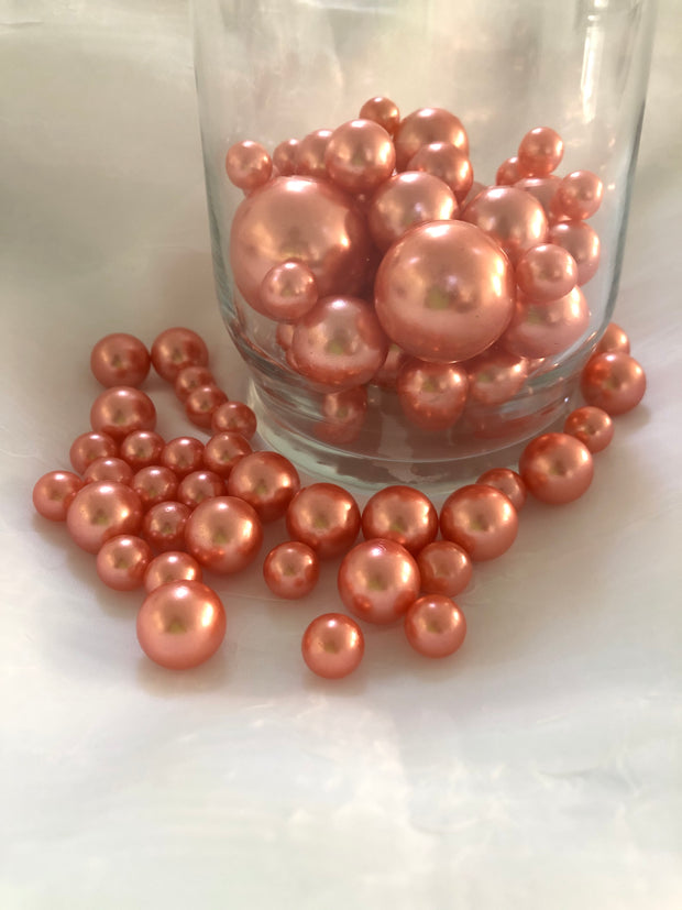 Dusty Coral Rose Vase Fillers For Floating Pearl Centerpiece, Table Scatters