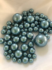 Dusty Blue Vase Filler Pearls, Floating Pearl Centerpiece, Table Scatters