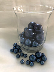 Navy Blue Vase Filler Pearls, Floating Pearl Centerpiece, Table Scatters